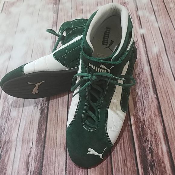 2e8b3aa9504 Puma high top green and white suede sneakers